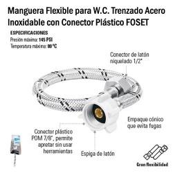 Manguera Flexible para W.C. Trenzado Acero Inoxidable con Conector Plástico FOSET