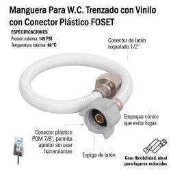 Manguera Para W.C. Trenzado con Vinilo con Conector Plástico FOSET