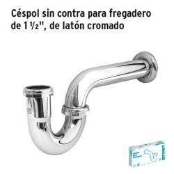 """Céspol sin Contra para Fregadero de 1 1/2"""" de Latón Cromado FOSET"""