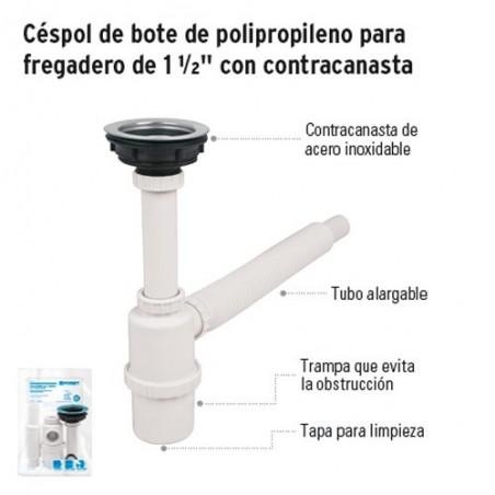 """Céspol de Bote de Polipropileno para Fregadero de 1 1/2"""" con Contracanasta FOSET"""