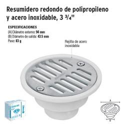 """Resumidero Redondo de Polipropileno y Acero Inoxidable 3 3/4"""" FOSET"""