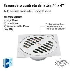 """Resumidero Cuadrado de Latón 4"""" x 4"""" FOSET"""