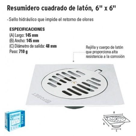 """Resumidero Cuadrado de Latón 6"""" x 6"""" FOSET"""