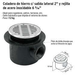 """Coladera de Hierro c/ Salida Lateral 2"""" y Rejilla de Acero Inoxidable 6 5/16"""" FOSET"""