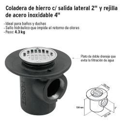 """Coladera de Hierro c/ Salida Lateral 2"""" y Rejilla de Acero Inoxidable 4"""" FOSET"""