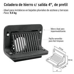 "Coladera de Hierro c/ Salida 4"" de Pretil FOSET"