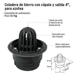 """Coladera de Hierro con Cúpula y Salida 4"""" para Azotea FOSET"""