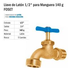 """Llave de Latón 1/2"""" para Manguera 140 g FOSET"""