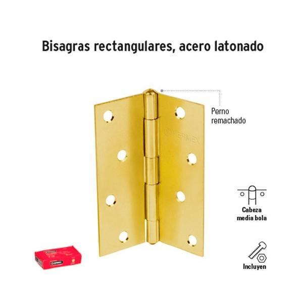 Bisagra Rectangular Acero Latonado