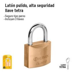 Candado de Latón Pulido Alta Seguridad Llave Tetra HERMEX BASIC