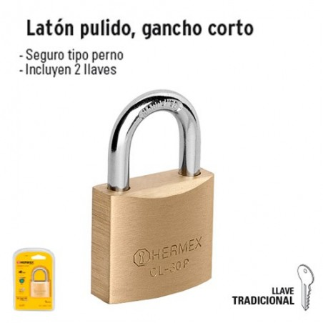 Candado de Latón Pulido Gancho Corto HERMEX BASIC