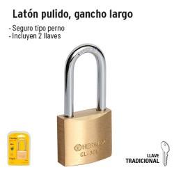 Candado de Latón Pulido Gancho Largo HERMEX BASIC