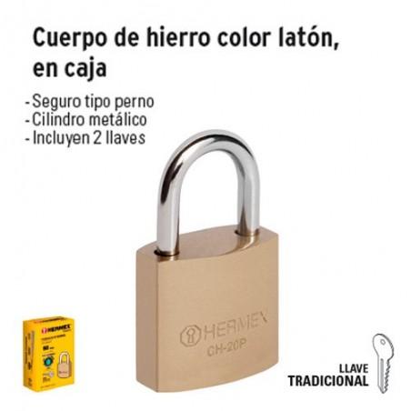 Candado Cuerpo de Hierro Color Latón HERMEX BASIC