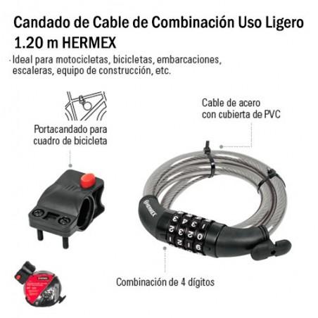 Candado de Cable de Combinación Uso Ligero 1.20 m HERMEX