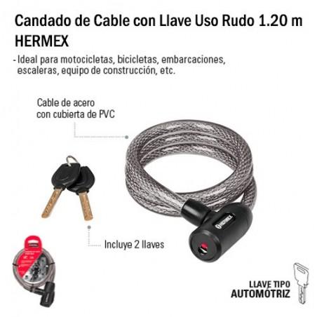 Candado de Cable con Llave Uso Rudo 1.20 m HERMEX