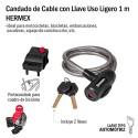 Candado de Cable con Llave Uso Ligero 1 m HERMEX
