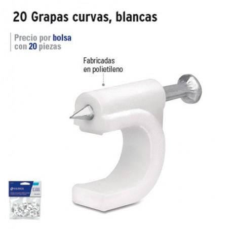 20 Grapas Curvas Para Cable Blancas