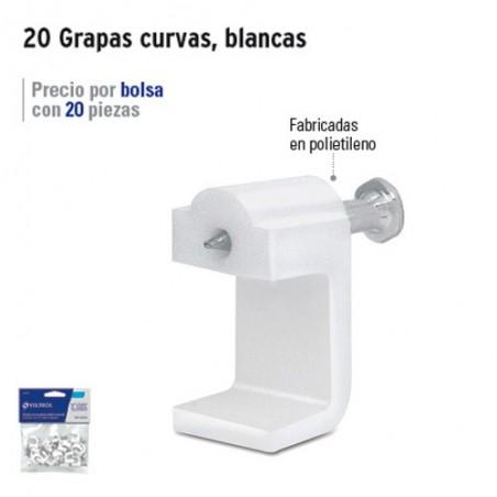 20 Grapas Planas Para Cable Blancas