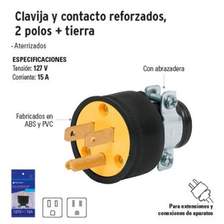 Clavija y Contacto Reforzados 2 Polos + Tierra