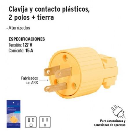 Clavija y Contacto Plásticos 2 Polos + Tierra