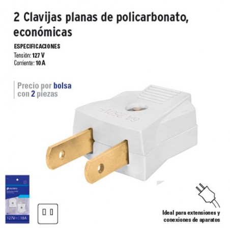 2 Clavijas Planas de Policarbonato Económicas