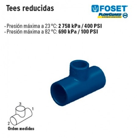 Tee Reducida de CVPC Azul FOSET
