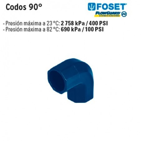 Codos 90° de CPVC Azul FOSET