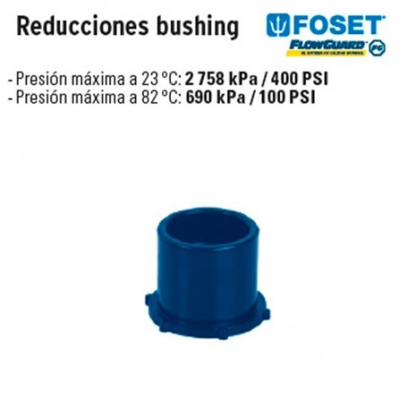 Reducciones Bushing de CPVC Azul FOSET
