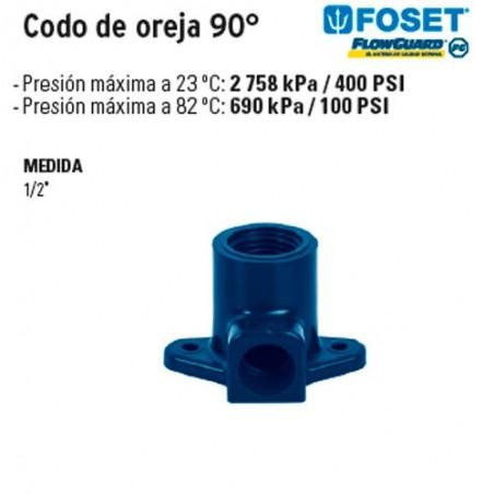 Codo de Oreja 90° de CPVC Azul FOSET