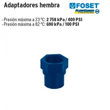 Adaptadores Hembra de CPVC Azul FOSET