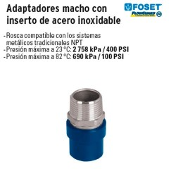 Adaptadores Macho con Inserto de Acero Inoxidable de CPVC Azul FOSET