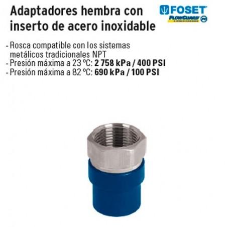 Adaptadores Hembra con Inserto de Acero Inoxidable de CPVC FOSET