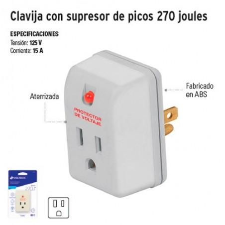 Clavija con Supresor de Picos 270 Joules VOLTECK