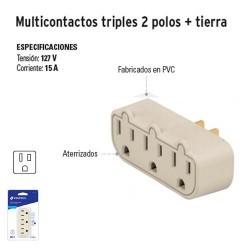 Multicontacto Triple 2 Polos + Tierra VOLTECK