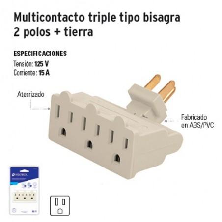 Multicontacto Triple Tipo Bisagra 2 Polos + Tierra VOLTECK
