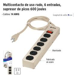 Multicontacto de Uso Rudo 6 Entradas Supresor de Picos 600 Joules VOLTECK