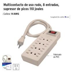 Multicontacto de Uso Rudo 8 Entradas Supresor de Picos 110 Joules VOLTECK