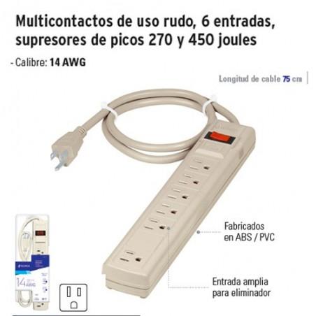 Multicontacto de Uso Rudo 6 Entradas Supresores de Picos 270 y 450 Joules VOLTECK