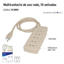 Multicontacto de Uso Rudo 10 Entradas VOLTECK