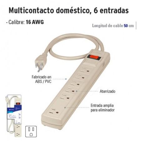 Multicontacto Doméstico 6 Entradas VOLTECK