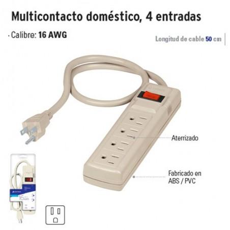 Multicontacto Doméstico 4 Entradas VOLTECK