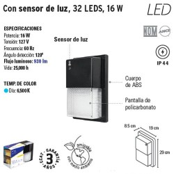 Arbotante con Sensor de Luz 32 LEDS 16 W VOLTECK