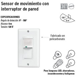 Sensor de Movimiento con Interruptor de Pared VOLTECK