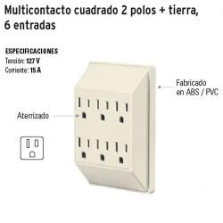 Multicontacto Cuadrado 2 Polos + Tierra 6 Entradas VOLTECK