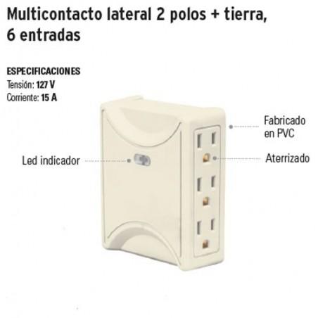 Multicontacto Lateral 2 Polos + Tierra 6 Entradas VOLTECK