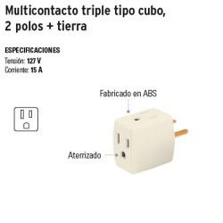 Multicontacto Triple Tipo Cubo 2 Polos + Tierra VOLTECK