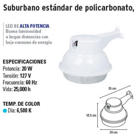 Luminario Suburbano Estándar de Policarbonato LED Alta Potencia VOLTECK