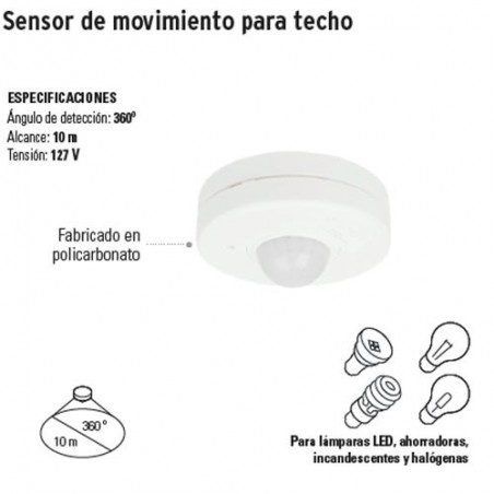 Sensor de Movimiento para Techo VOLTECK