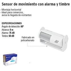 Sensor de Movimiento con Alarma y Timbre VOLTECK