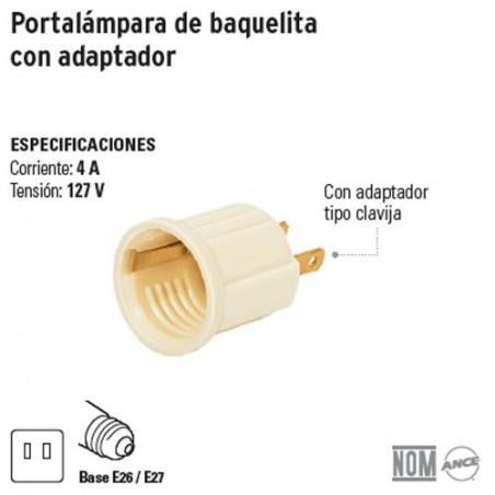 Portalámpara de Baquelita con Adaptador VOLTECK